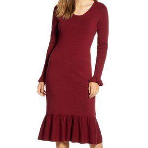 Rachel Parcell Ruffle Trim Sweater Dress Merlot
